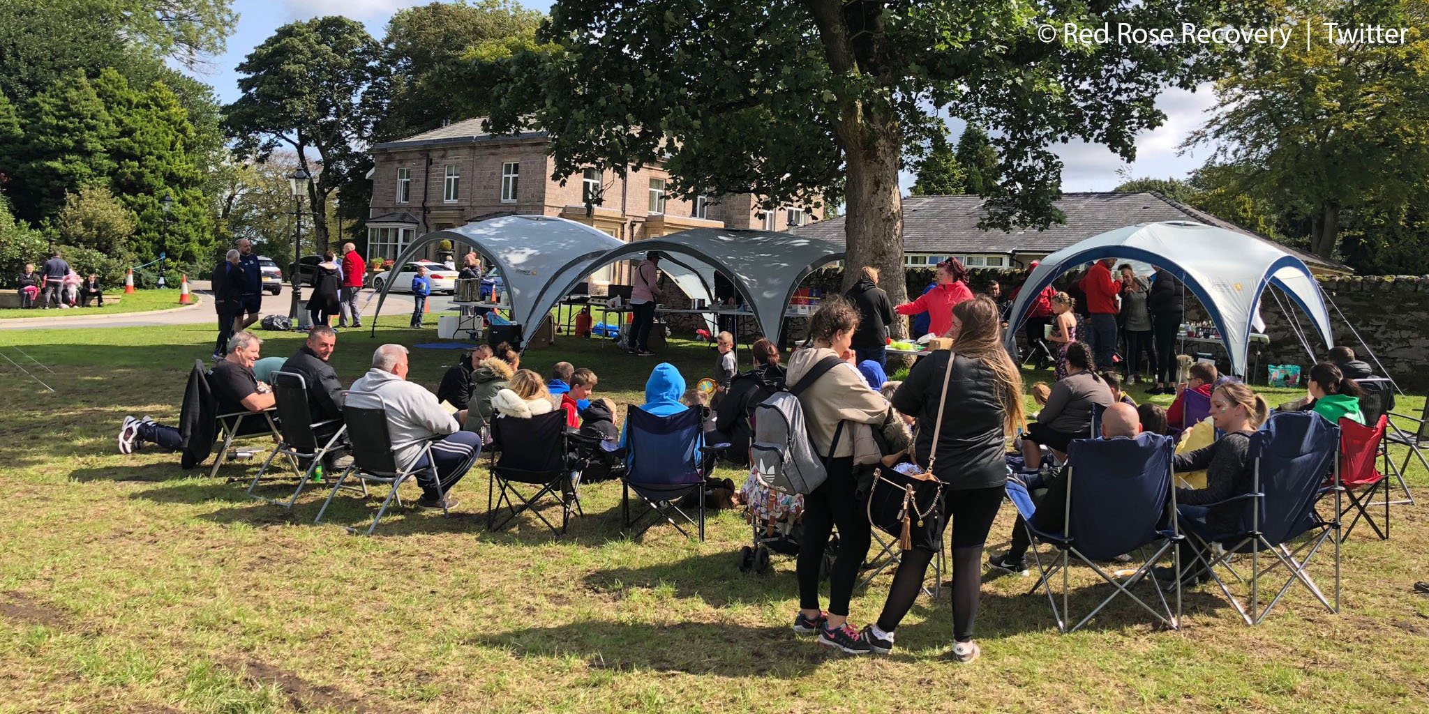 Lancashire recovery celebration: attendees at the LUFStock18 campout enjoy the sunshine