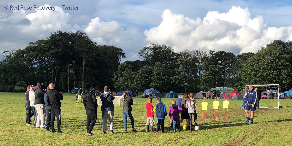 Lancashire recovery celebration: football training at the LUFStock18 campout at Salus Withnell Hall
