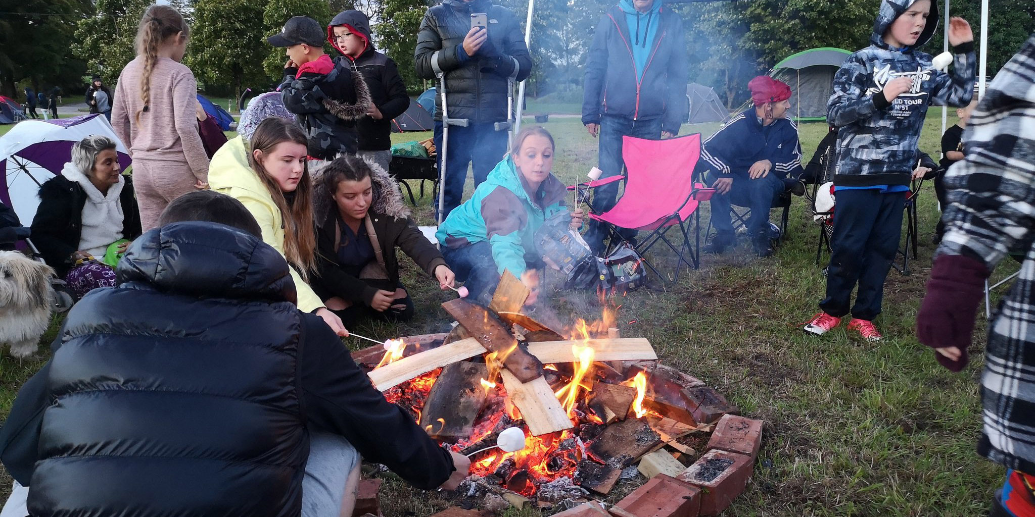 Lancashire recovery celebration: toasting marshmallows on the campfire at the LUFStock18 campout at Salus Withnell Hall